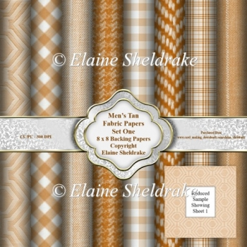 Mens Tan Brown Faux Fabric Assorted 8 x 8 Backing Paper Set One