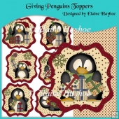 Giving Penguins Christmas Card Toppers