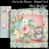 Owl in the Flowers - Shaped Card