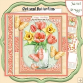 JAR OF Daffodils Tulips 7.5 Decoupage & Insert Kit All Occasions