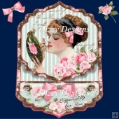 Vintage Make Up Girl Easel Card