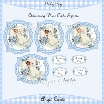 CHRISTENING / NEW BABY BOY TOPPERS