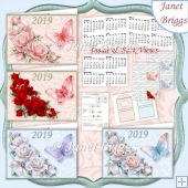ROSES & BUTTERFLIES 2019 UK Easy Fold Purse Calendars