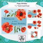 Poppy Happy Birthday 7 Inch Card Front & Insert with Decoupage