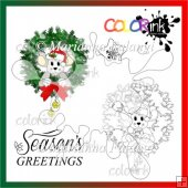 christmas wreath mouse and sentiment Digi stamp