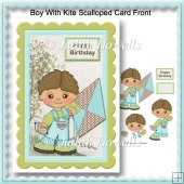Boy With Kite Scalloped Card Front