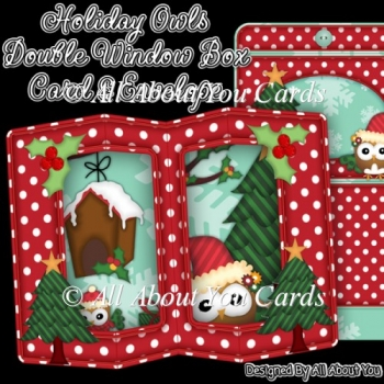 Holiday Owls Double Window Box Card