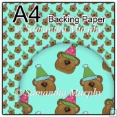 ref1_bp488 - Turquoise Teddy With Party Hat
