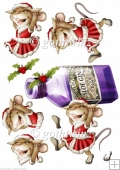 Mrs Christmas Sloe Gin Mouse Decoupage Sheet