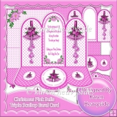 Christmas Pink Bells Triple Scallop Easel Card