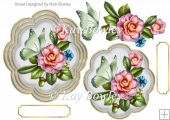 pink flowers with green butterflies card front/topper