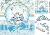 cute cuddle bear with blue bow on lace & fur 8x8