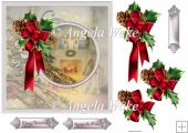 Christmas day 7x7 card with decoupage