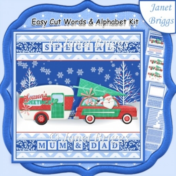 SANTA CARAVAN Christmas Easy Cut Word Strips & Alphabet Kit