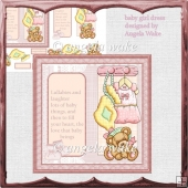 baby girl dress and teddy bear card
