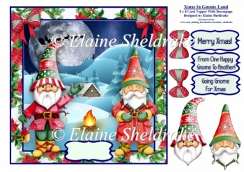 Christmas In Gnome Land - 8 x 8 Card Topper With Decoupage