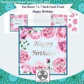 Tea Roses 7 x 7 Inch Card Front with Decoupage - Happy Birthday