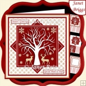CHRISTMAS RED & GOLD DEER 7.5 Quick Layer Card & Insert