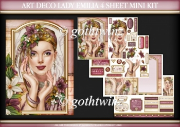Art Deco Lady Emilia 4 Sheet Mini Kit Dark Pink