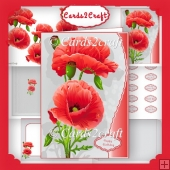 Wavy edge poppies card set 2