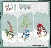Penguins dancing feet trifold card