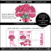 Birth Flower and Gem January: Tall Shaped Boot Card