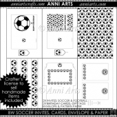 BW Soccer Invites, Cards, Gift wrap, Envelope Set