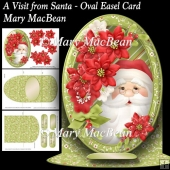 A Visit from Santa - Oval Easel Card