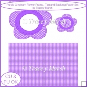 Purple Gingham Flower Frame, Tag and Backing Sheet Set - CU & PU