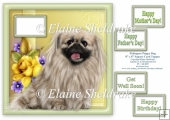 Pekingese Puppy Dog - Fits 8 x 8 Cards With Space To Spare