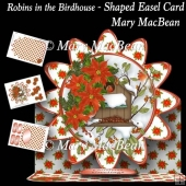 Robins in the Birdhouse - Shaped Easel Card