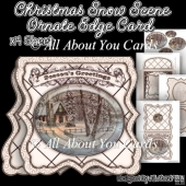 Christmas Snow Scene Ornate Edge Card