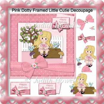 Pink Dotty Framed Little Cutie Decoupage Card Front