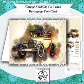 Vintage Ford Car 5 x 7 Inch Tent Card with Decoupage & Insert