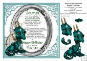 8 x 8 Taurus Zodiac Birthday Gemstone Dragon Topper & Decoupage