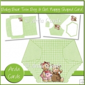 Baby Bear Twin Boy & Girl Nappy Shaped Card