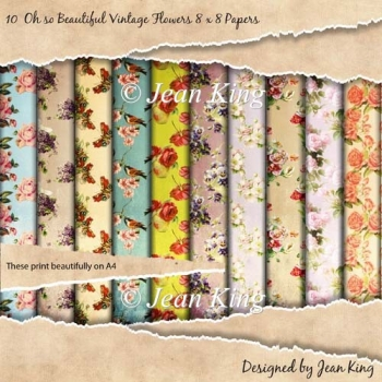 10 Oh so Beautiful Vintage Flowers 8 x 8 Papers