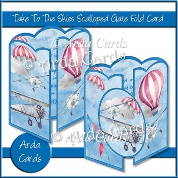 Take To The Skies Scalloped Gate Fold Card