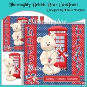 Thoroughly British Bear Cardfront with Decoupage