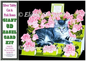 Silver Tabby Cat & Pink Roses - Pop Up Card Kit