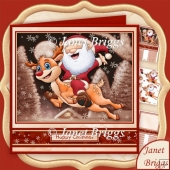 SANTA'S CHRISTMAS FLIGHT 7.8 Decoupage & Insert Mini Kit