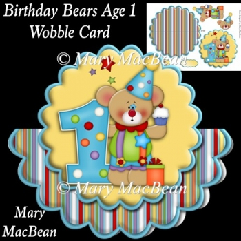 Birthday Bears Age1 Wobble Card