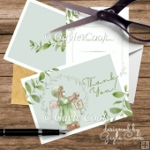 Teddy Bea Thank You Card with flowers