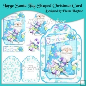 Santa Tag Shaped Christmas Card with Decoupage