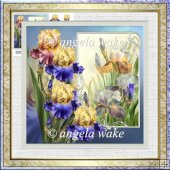 Iris 7x7 card with decoupage and sentiment tags