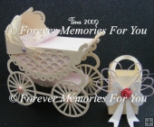 Old Fashioned Pram & Box,Silhouette Cameo,Portrait,Curio