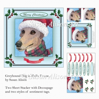 Greyhound Dog in Holly Frame, Stacker with Decoupage