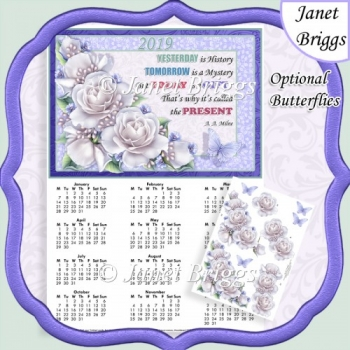 WHITE ROSES 2019 A4 Calendar with Decoupage Mini Kit