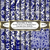 Victorian Bristol Blue & White - Set One - 12 x 12 Papers