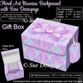 Gift Box Floral Art Nouveau Background with Bow Decoupage